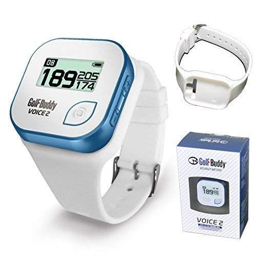 Golf Buddy Voice 2 - Telémetro de golf con GPS para sombrero, localizador de alcance de golf para golf, 14 horas de duración, resistente al agua (blanco/azul) con correa de silicona