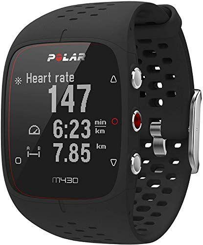 Polar M430 - Reloj running con GPS y frecuencia cardiaca en la muñeca, resistente al agua, resolución de 128x128 pixeles, peso de 51 g, color negro, grosor de 12 mm