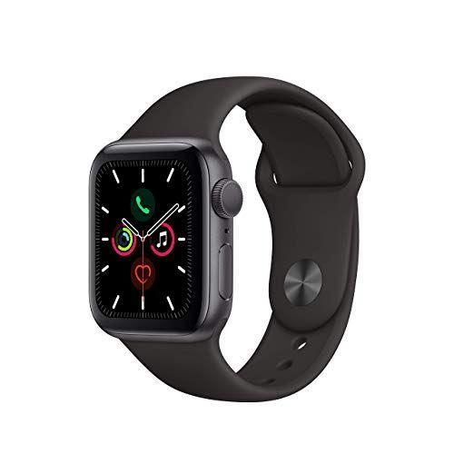 Apple Watch Series 5 GPS (renovado), Correa Deportiva Negra., 40mm, Carcasa de Aluminio Gris Espacial.