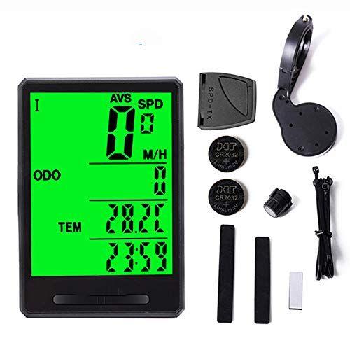 MUYEY Velocímetro de Bicicleta Computadora Cronómetro inalámbrico Odómetro a Prueba de Agua 21 Función LCD Velocímetro Sensor de Velocidad Accesorios para Montar,Button Wireless