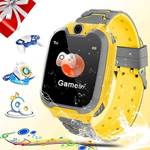 Smartwatch para niños, juego de música Reloj inteligente SOS para niños con reproductor de música / ranura para tarjeta SIM / cámara Regalos de aprendizaje para niños y niñas Cumpleaños (amarillo)