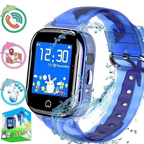 Reloj inteligente para niños con rastreador de GPS, teléfono para niños, niñas, niñas, pantalla táctil, tarjeta SIM, cámara, Android, iOS compatible, cumpleaños Anti-Perdido Llamadas bidireccionales SOS Chat de voz (Azul) (GSM solamente)