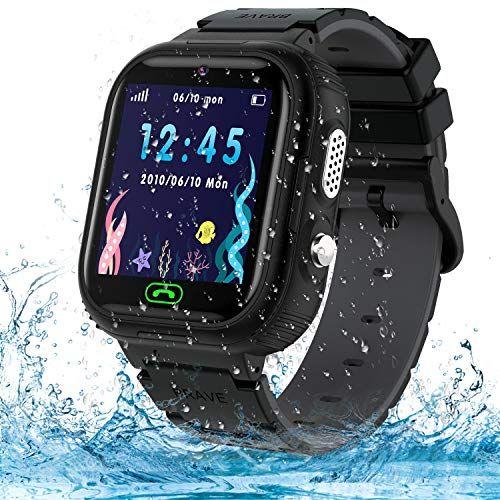 Reloj inteligente para niños, IP67 impermeable GPS Tracker reloj inteligente para niños, visualización táctil HD reloj de juego con llamada SOS/chat de voz/cámara/alarma para niños y niñas regalos de cumpleaños (negro)