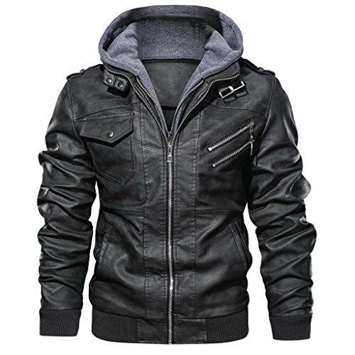 MMHA Denzell Outwear Anarquist chamarra de piel con capucha para motocicleta estilo motero para hombre, Gris, Small