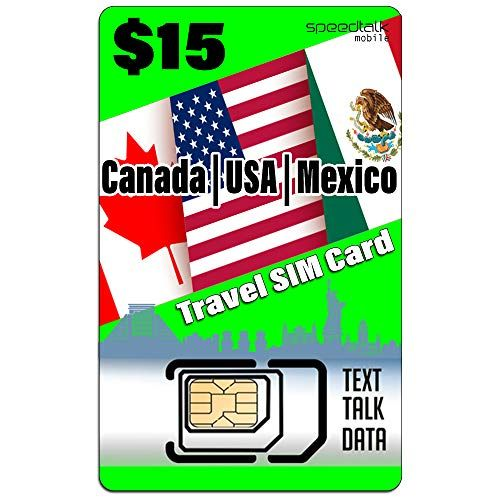 Tarjeta SIM de viaje de Estados Unidos, Canadá, México, datos de texto, compatible con todos los teléfonos GSM desbloqueados