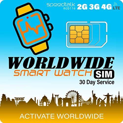 SpeedTalk Mobile Tarjeta SIM para Relojes Inteligentes - Compatible con Bandas 2G, 3G y 4G - Cobertura en 200 países - EE. UU/México/España/Puerto Rico/Costa Rica/Guatemala/Panamá