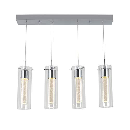 Artika OME59 Lámpara de 4 colgantes regulable con LED integrado y cristal de burbujas premium, cromado