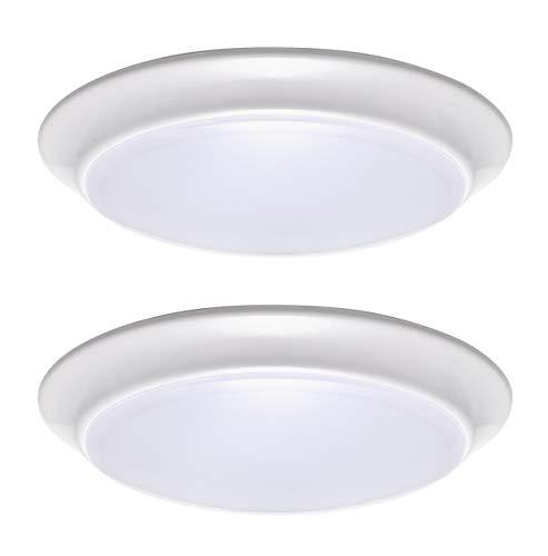 LIT-PaTH LED Flush Mount Ceiling Lighting Fixture, Dimmable 7 Inch 11.5W 900 Lumen, Aluminum Housing Plus PC Cover, ETL and ES Qualified (3000K, 2-Pack)