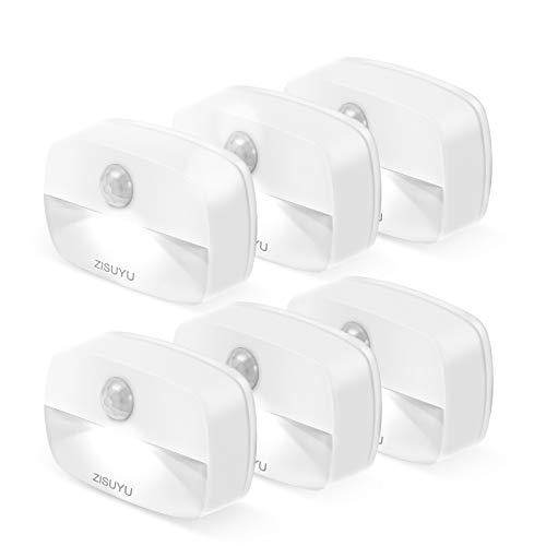 ZISUYU Motion Sensor Light Indoor Led Night Light Stick on Nightlight Battery Operated Lights for Toilet Closet Bathroom Bedroom Hallway Stair