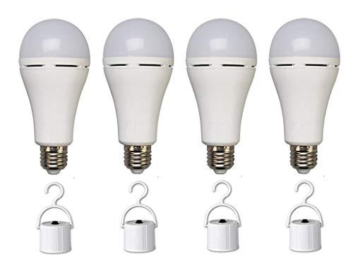 Bombilla LED de emergencia de 5 W, recargable, lámpara de emergencia portátil, bombilla de emergencia para interrupción de energía en casa, huracán, camping, con interruptor de gancho, equivalente a 40 W, blanco frío 6500 K, paquete de 4 unidades