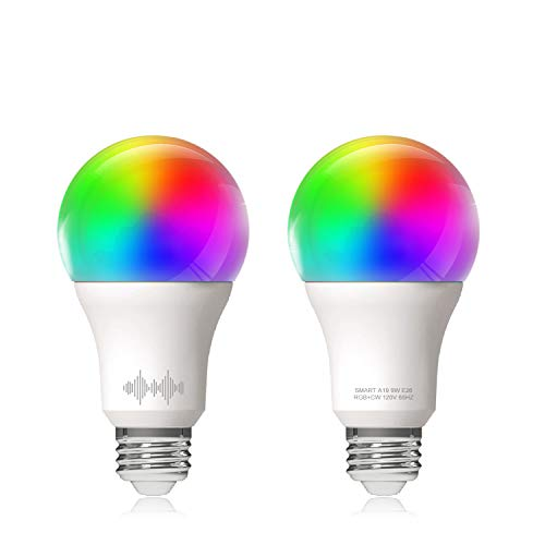 Helloify A19 Smart WiFi LED Light Bulbs, RGBCW Multi-Color Changing, Warm to Cool White Dimmable, Work with Alexa & Google Home (No Hub), 60W Equivalent E26, RGB+2700K-6500K, 2 Count