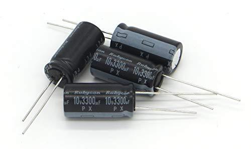 Condensadores electrolíticos radiales de aluminio de plomo 3300uF 10V para reparación de televisores LCD y electrónica de consumo, 4 unidades
