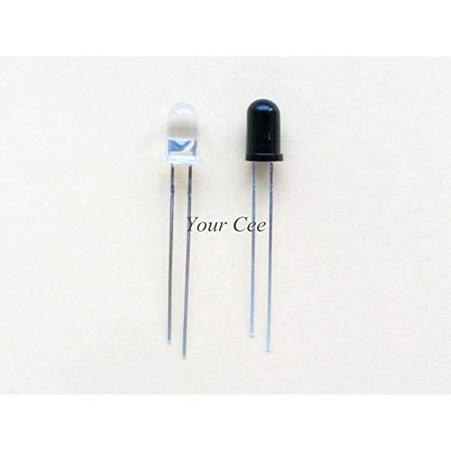 DIYElectronic 10pairs LED 5mm 940nm IR infrarrojo emisor y receptor de luz de tubo redondo de diodo