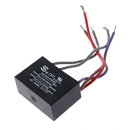 CBB61 Electrical Power Relay Connecting Capacitor 4.5uf+6uf+5uf 250V 5 Wire Aluminum Electrolytic Capacitor Fixed Filter Assorted Electronic Component High Frequency Low Impedance Polyester Power