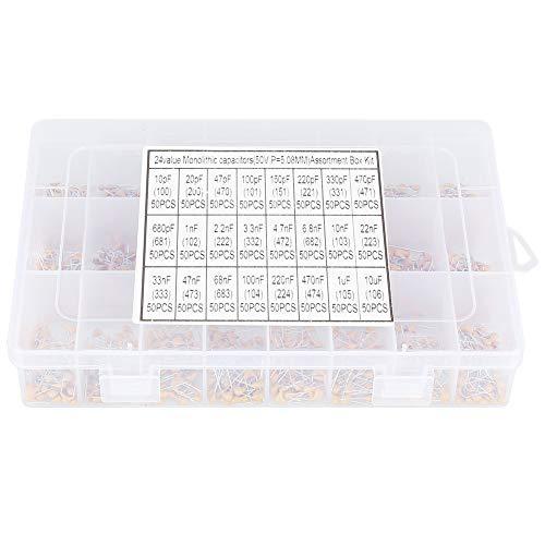 Yosoo Ceramic Capacitor Assortment Kit - Set of1200 24 Values 50V 10pF-10uF Small Assorted Capacitors Monolithic Capacitor Set