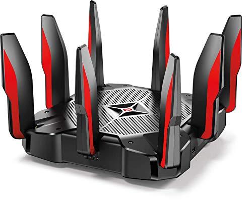 TP-Link AC5400 Tri Band Gaming Router - Anti-Virus, MU-MIMO, CPU Quad-Core de 64 GHz a 1.8 GHz, Prioridad de Juego, Almacenamiento de 16 GB, Wifi Seguro, Funciona con Alexa (Archer C5400X)