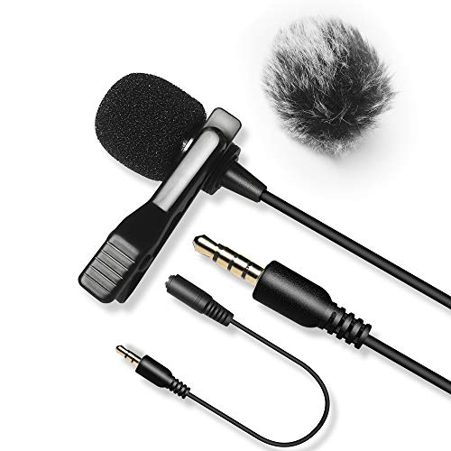 20FT Lavalier Microphone with 1 Windscreen Muff,Nicama LVM3 Lav Lapel Clip-On Mic for DSLR Camera Canon Nikon Camcorder Audio Recorders Smartphones iPhone Recording Youtube Podcast PC Podcast