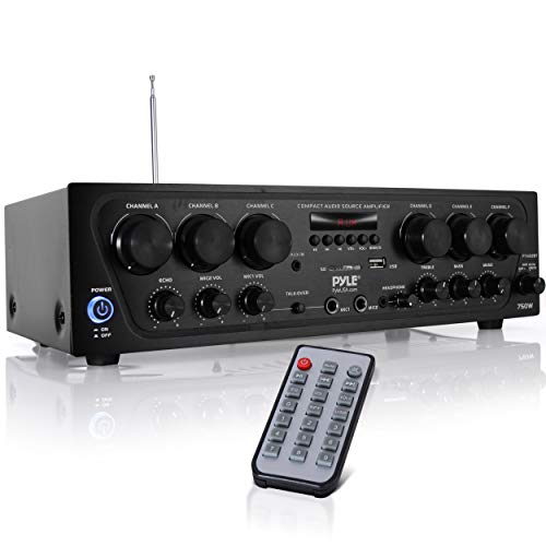 Pyle Bluetooth Home Audio Amplifier System - Upgraded 2018 6 Channel 750 Watt Wireless Home Audio Sound Power Stereo Receiver w/ USB, Micro SD, Headphone, 2 Microphone Input w/ Echo, Talkover for PA