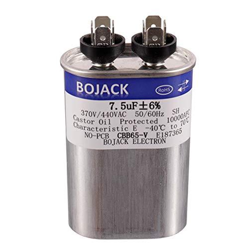 BOJACK 7.5 uF ±6% 7.5 MFD 370 V/440 V CBB65 Condensador de arranque ovalado para motor AC o arranque del ventilador y bomba de calor aire acondicionado