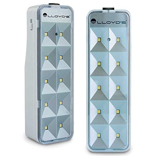 Lloyd's Lámpara de Emergencia Portátil Recargable con 10 Leds SMD, 2 Niveles de Intensidad con Duración hasta 10 Horas y Encendido Automático al Fallar la Luz, Clavija Retráctil (Paquete de 2)