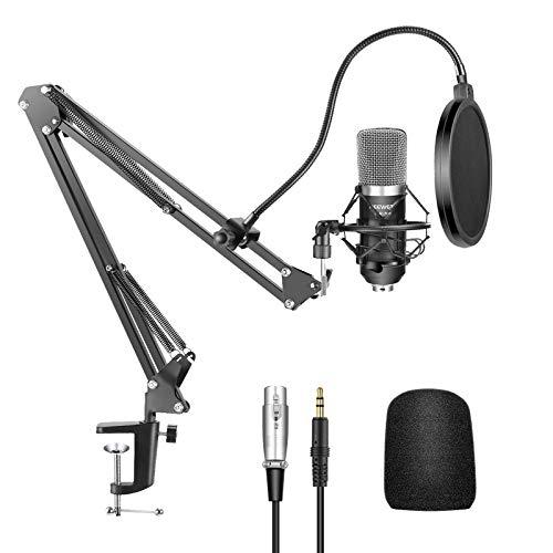 Neewer 40084747 - Kit de NW-700 Micrófono Condensador para Radiodifusión y Grabación, NW-35 Soporte de brazo Ajustable en forma de Tijera de Suspensión con Montura Antivibratoria y Abrazadera