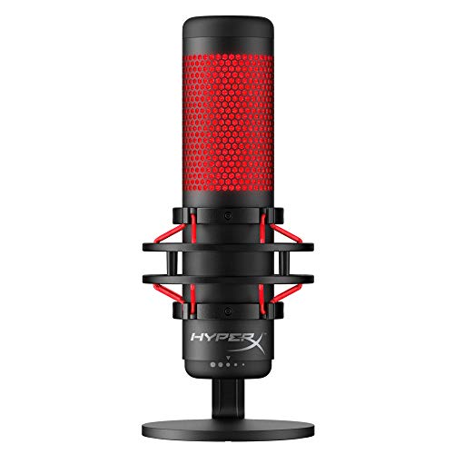 HyperX QuadCast - USB Condenser Gaming Microphone, for PC, PS4, PS5 and Mac, Anti-Vibration Shock Mount, Four Polar Patterns, Pop Filter, Gain Control, Podcasts, Twitch, YouTube, Discord, Red LED