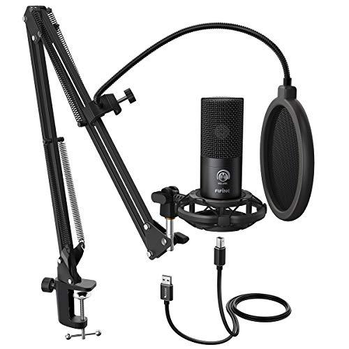 FIFINE Studio Condensador USB Micrófono PC Micrófono Kit con soporte ajustable para brazo de tijera, soporte de choque para instrumentos de voz, grabación, podcasting YouTube Karaoke Gaming Streaming-T669