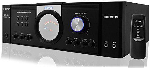 Pyle PT1100 - Amplificador de Potencia de Audio para el hogar (1000 W, Receptor estéreo de 4 Canales con selector de Altavoces y Mando a Distancia)