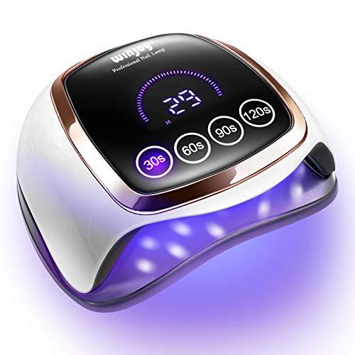 Winjoy - Lámpara de gel UV LED para uñas con 4 ajustes de temporizador y sensor automático, 168 W, para uso doméstico