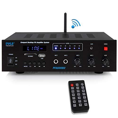 Wireless Bluetooth Public Address Amplifier - 300 Watts 2Ch Compact Mini Digital Home Power Audio Sound PA Receiver System w/Microphone Input, Radio, USB, Remote, for 4-16 Ohm Speaker - Pyle PFA600BU