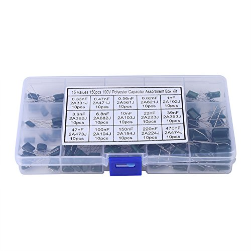 Film Capacitors Kit 150pcs, 100V Capacitors 15 Value 0.33nF-470nF Polyester Film Capacitor Assortment Kit with Storage Box