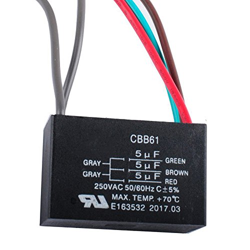 Wadoy CBB61 5 Wire Ceiling Fan Capacitor Compatible with NEW TECH 5+5+5uf 50/60Hz 250VAC