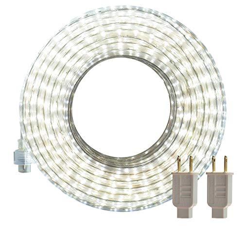 SURNIE Luces LED de cuerda para exteriores blancas 50 pies impermeables flexibles tiras de luces 110V conectables cortables 6000K iluminación de cinta para interiores certificación UL ubicación decorativa escaleras de jardín balcón fiesta