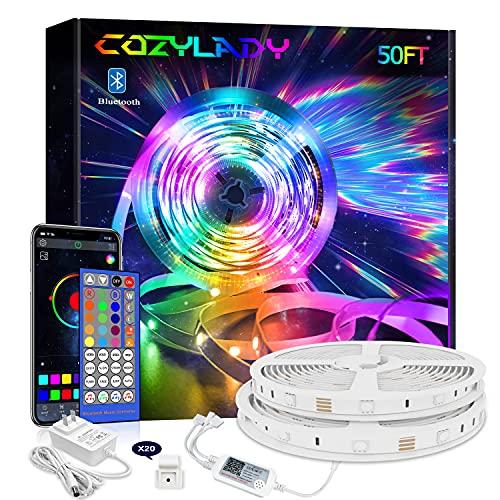 Cozylady Smart LED Strip Lights 50FT, App Controlled LED Light Strips - RGB Music Sync LED Lights Strip for Bedroom Decor, Room Decor, Children's Room