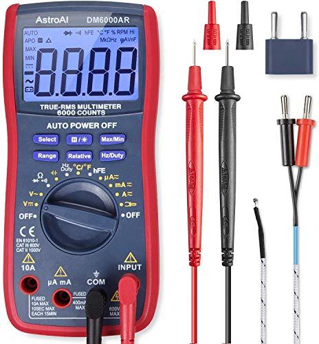 AstroAI Multímetro Digital Profesional Rango Automático 6000 Cuentas, Polímetro Digital de Voltaje Corriente AC/DC, Ture-RMS, Temperatura, Frecuencia, Medidor de Corriente Voltaje AC/DC, Resistencia, Continua, Diodos, Con función magnética