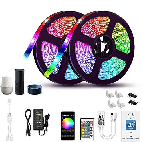 Gizmozs Tira LED, led lights, Luces LED con Kit, Tira de luz controlada por teléfono Inteligente, inalámbrico, WiFi 5050, Trabaja con Sistema Android y iOS, Alexa, Asistente de Google, 32.8ft / 10M (2x5M)