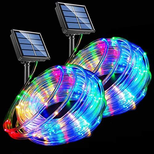 Guirnalda de luces LED con energía solar, 120 ledes, 8 modos, cambio de color, para interiores y exteriores, tira impermeable para jardín, patio, Navidad, fiesta, camping, vacaciones, 2 unidades