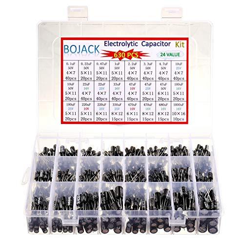 BOJACK 24Value 630 unidades de condensadores electrolíticos de aluminio surtido Kit de caja de 0,1uF-1000uF