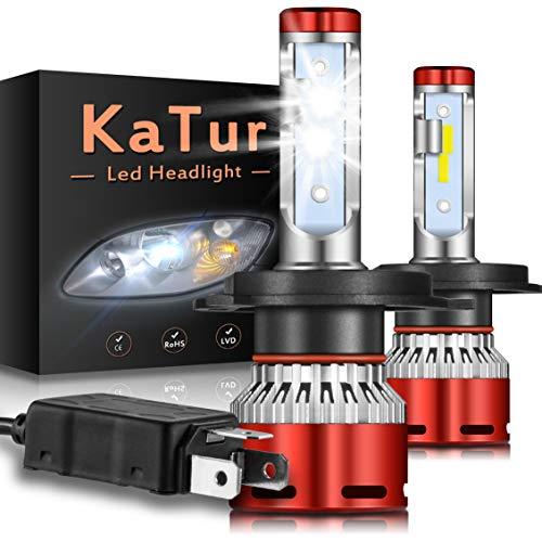 KATUR H4 9003 HB2 Haz Alto/bajo Bombillas led Faros Chips CSP Mini Design Super Bright 12000LM Kit de conversión de Faros a Prueba de Agua 60W 6500K Xenón Blanco-2 años de garantía