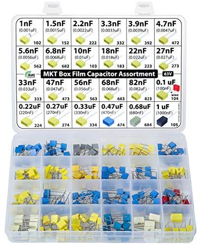 Kit surtido de condensadores de caja de poliéster metalizado MKT PET, 235 piezas, 24 valores, 63 V, 1 nF a 1uF