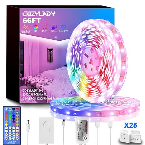 Cozylady Música Tira LED 20m, Luces LED Habitación con Control Remoto, RGB 5050 Tiras LED con Fuente de Alimentación