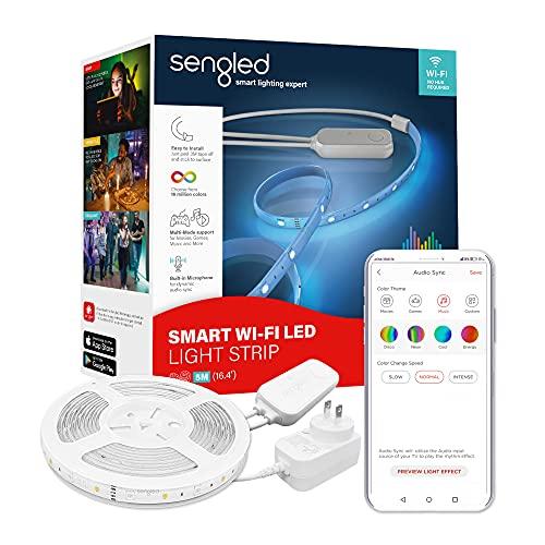 Sengled W1G-N84F WiFi 2000-6500K LED multicolor funciona con Alexa Google, 5 m, Smart RGB cambio de color tiras de luz para decoración del hogar, dormitorio, 5 metros