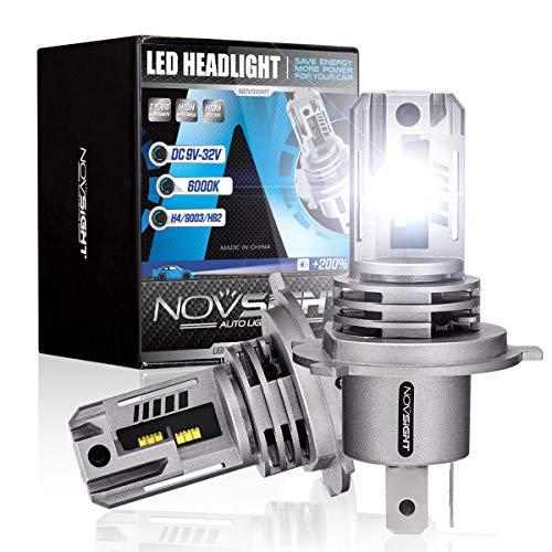 NOVSIGHT H4/9003/HB2 LED Headlight Bulbs, 12000 Lumens 1:1 Size Design Headlights Conversion Kits, 6500K Xenon White 55W Hi/Lo Beam, Fast Installation Halogen Replacement