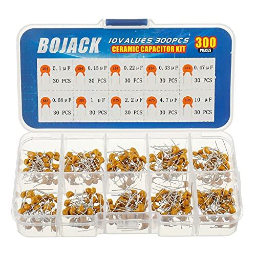 BOJACK 10 Values 300 Pcs Ceramic Capacitor 0.1 0.15 0.22 0.33 0.47 0.68 1 2.2 4.7 10 uF Multilayer Monolithic Ceramic Capacitor Assortment Kit