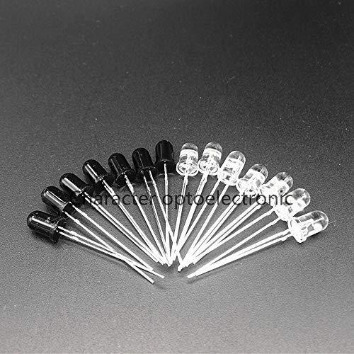 Jammas 50 pares/100 unidades de 5 mm 940 nm IR LED emisor de infrarrojos y diodos receptores IR diodos de 5 mm 940 nm IR LED diodo lámpara – (color emisor: receptor y emisor)