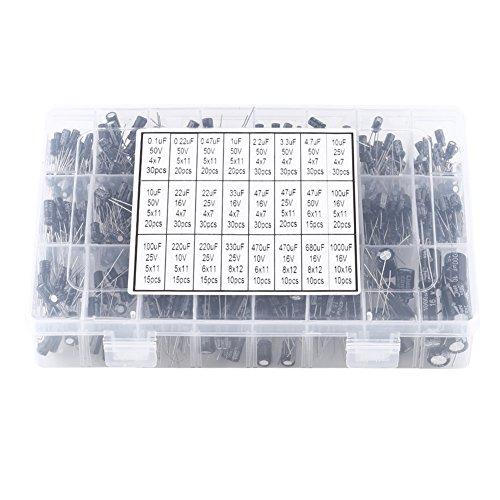 Condensadores electrolíticos de 500 piezas 16 V-50 V, condensador electrolítico de aluminio, capacitancia de 0,1 uF ~ 1000 uF, kit surtido de condensadores electrolíticos, para hacer circuitos