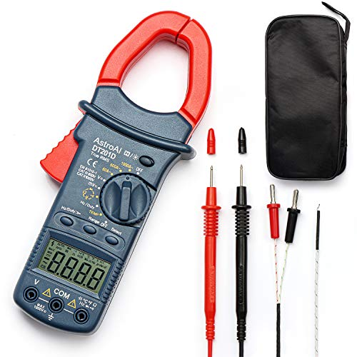 AstroAI Digital Clamp Meter, TRMS 6000 Counts Multimeter Volt Amp Ohm Meter with Manual and Auto Ranging, Continuity, Frequency; Diodes, Temperature Tester(AC Clamp Meter)