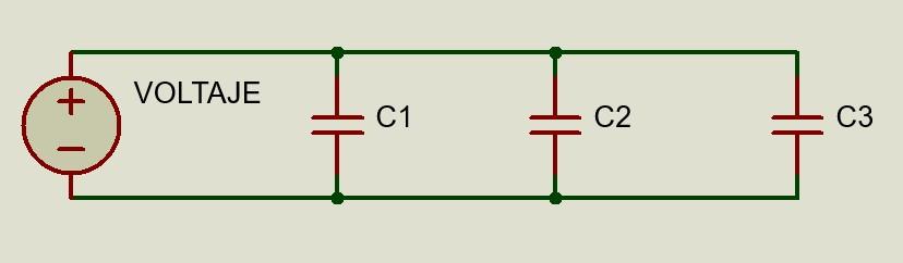 Circuito eléctrico de capacitores en paralelo