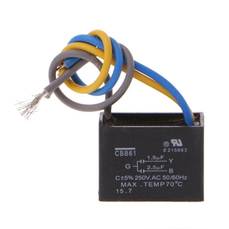 Condensador para ventilador de techo, CBB61, 3 cables, 250V