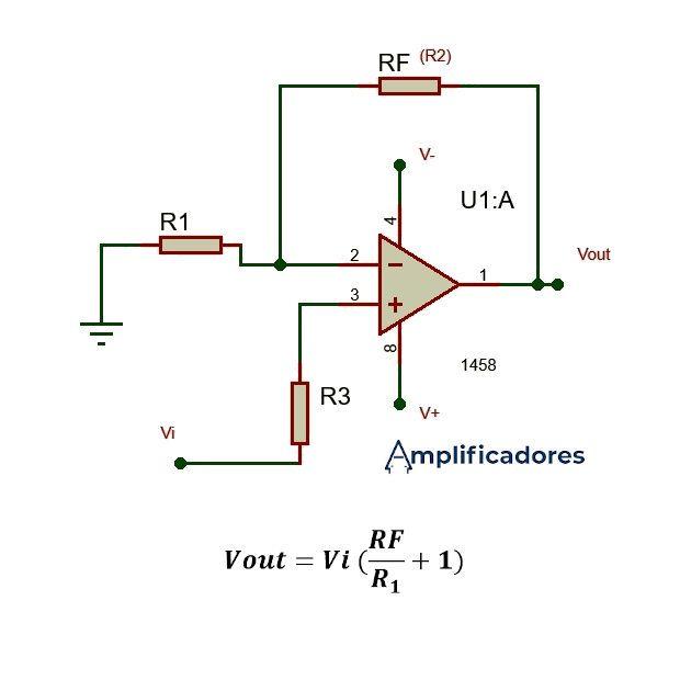 Amplificador operacional no inversor y su formula